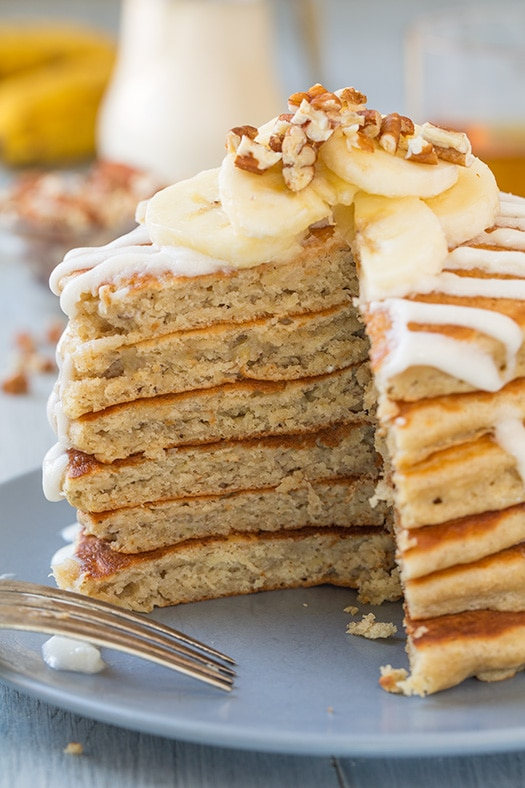 Banana Bread Pancakes with Cream Cheese Glaze | Cooking Classy