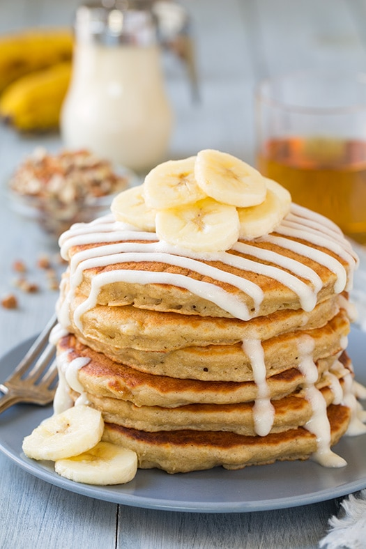 Banana Bread Pancakes With Cream Cheese Glaze Cooking Classy