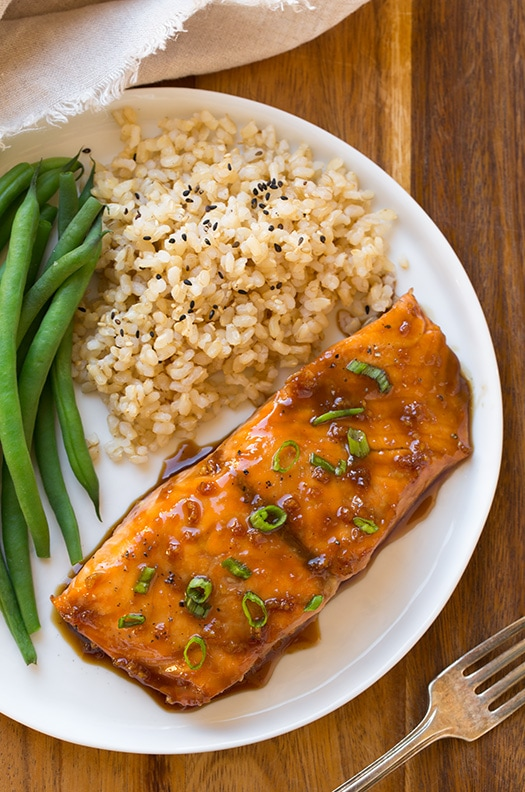 soy maple glazed salmon with green beans and brown rice