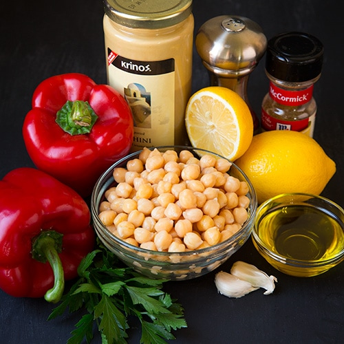 Roasted Red Pepper Hummus ingredients