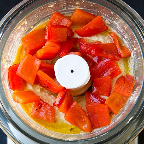 Roasted Red Peppers and hummus in a food processor