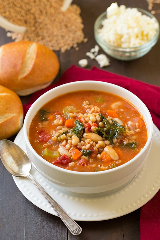 Mediterranean Farro Stew with Kale and Cannellini Beans from Cooking Classy on foodiecrush.com
