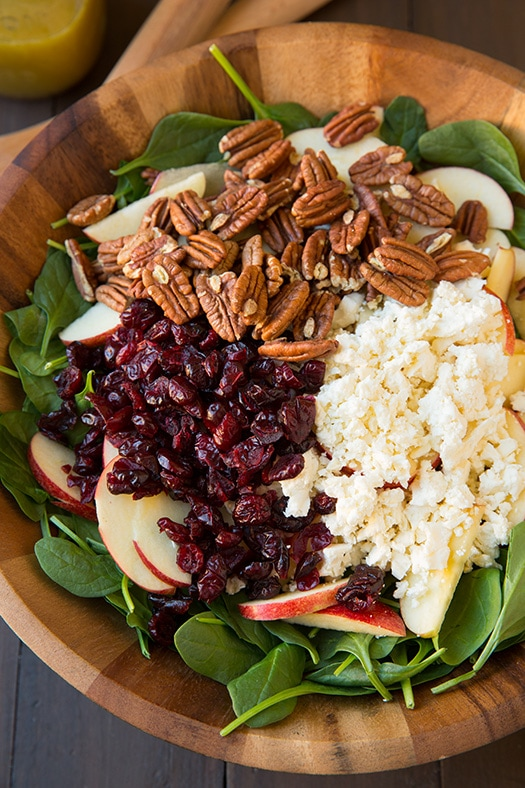 Apple Pecan Feta Spinach Salad with Maple Cider Vinaigrette   Cooking Classy