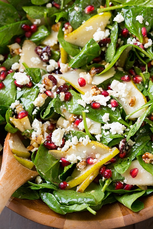 Pear, Pomegranate and Spinach Salad - Cooking Classy