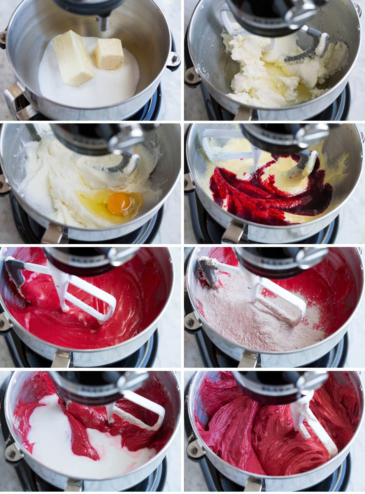 Collage of eight images showing how to make red velvet cake batter in a stand mixer.