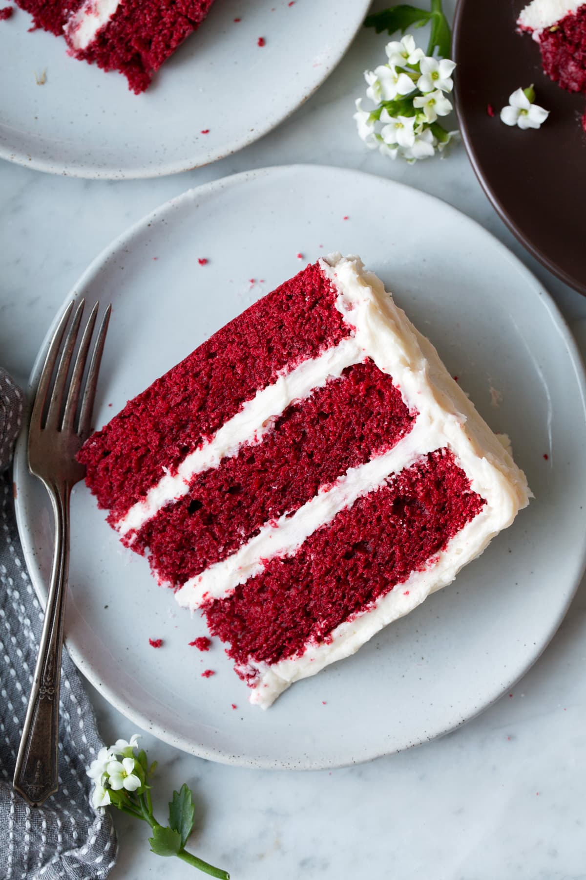 Overhead image of slice of Red Velvet Cake on a light grey serving plate.