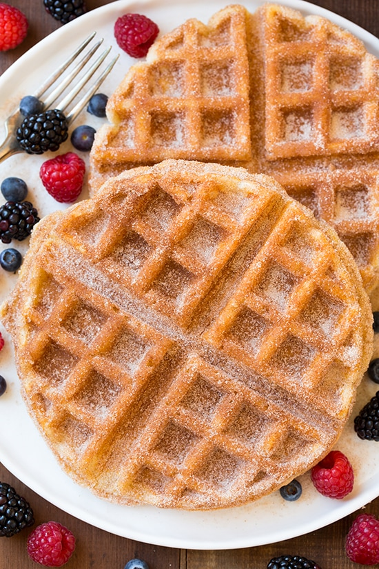 Churro Waffle Recipe - Cinnamon Sugar Dusted Belgian Waffles