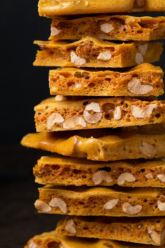 Close Up Image Of Stake Peanut Brittle Showing Texture