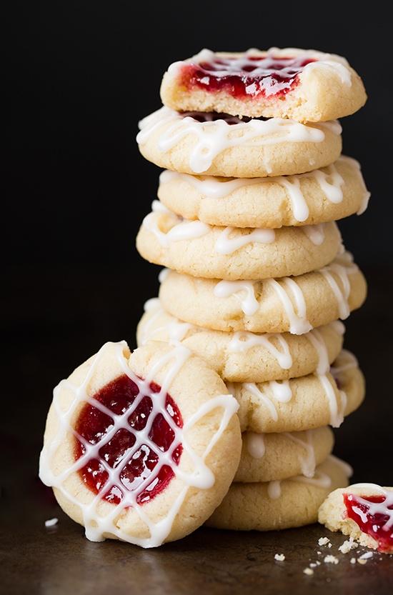 Raspberry Almond Shortbread Thumbprint Cookies   Cooking Classy