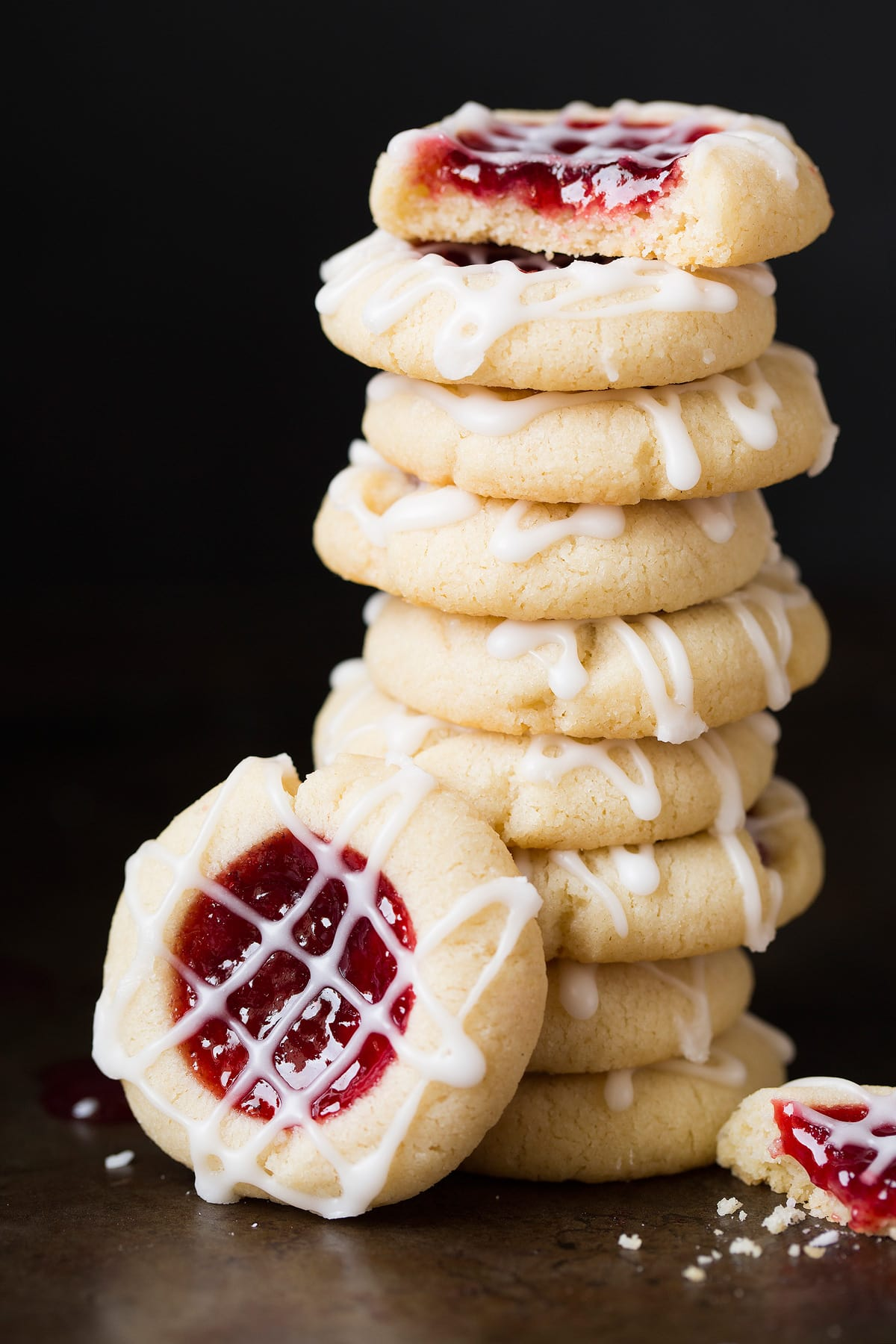 Stack of thumbprint cookies