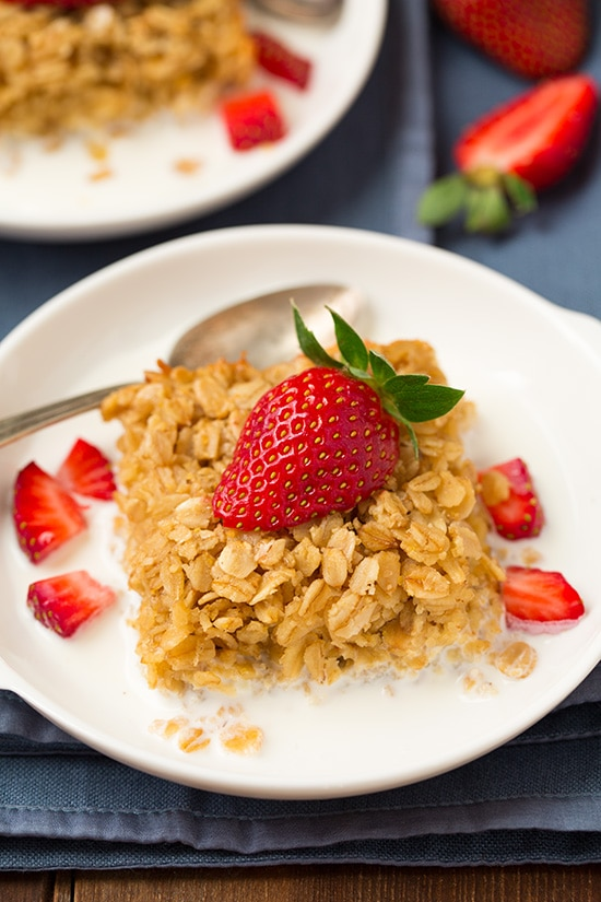 Amish Baked Oatmeal Served With Strawberries
