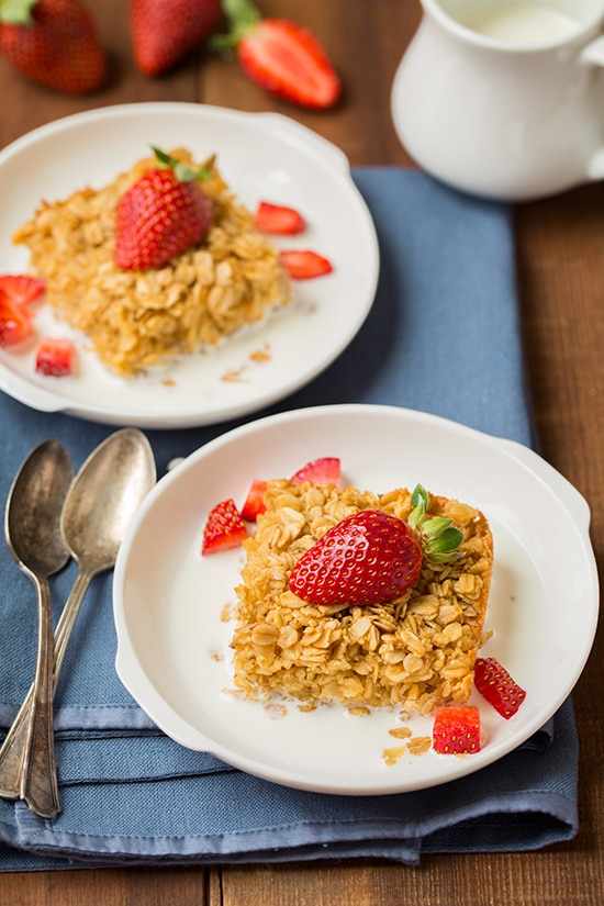Amish Baked Oatmeal Served On Plate With Strawberry