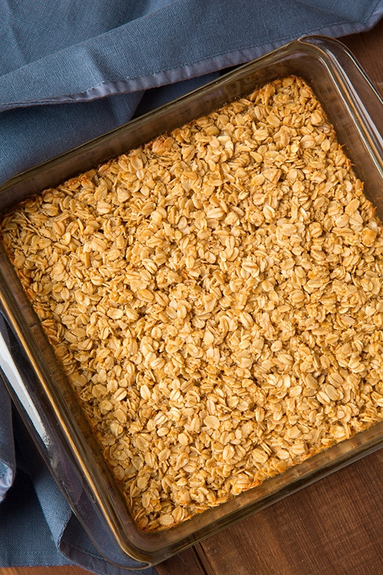 amish baked oatmeal in square baking pan