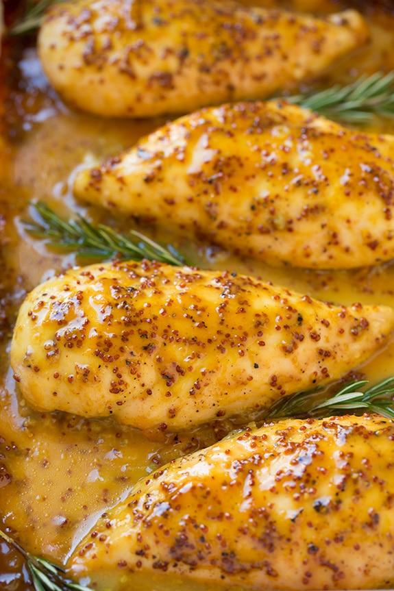 close up shot of honey mustard chicken
