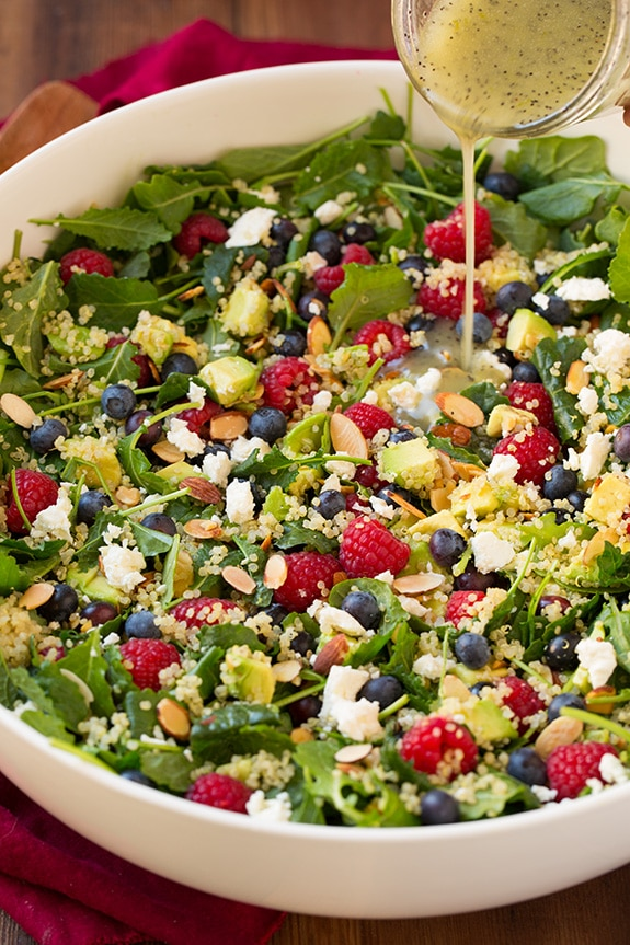 Berry Avocado Quinoa and Kale Salad with Honey-Lime Poppy Seed Dressing | Cooking Classy