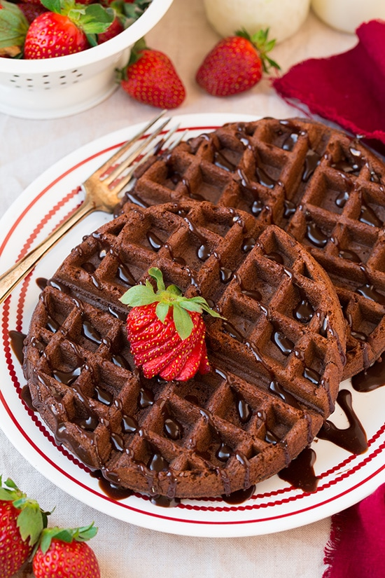 Chocolate Cake Mix Waffles (only FOUR ingredients) | Cooking Classy