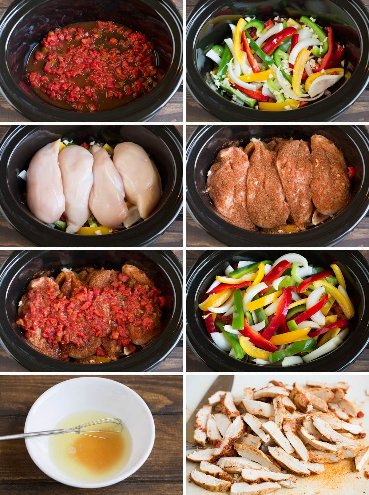 Steps to making chicken fajitas in the slow cooker