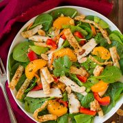 Mandarine Orange Spinach Salad with Chicken and Lemon Honey Ginger Dressing | Cooking Classy