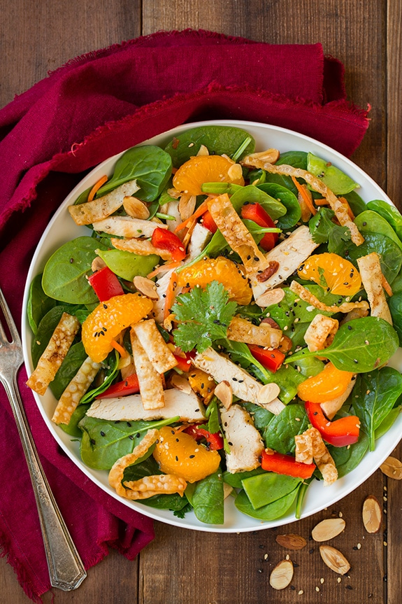mandarin orange salad with chicken in white bowl