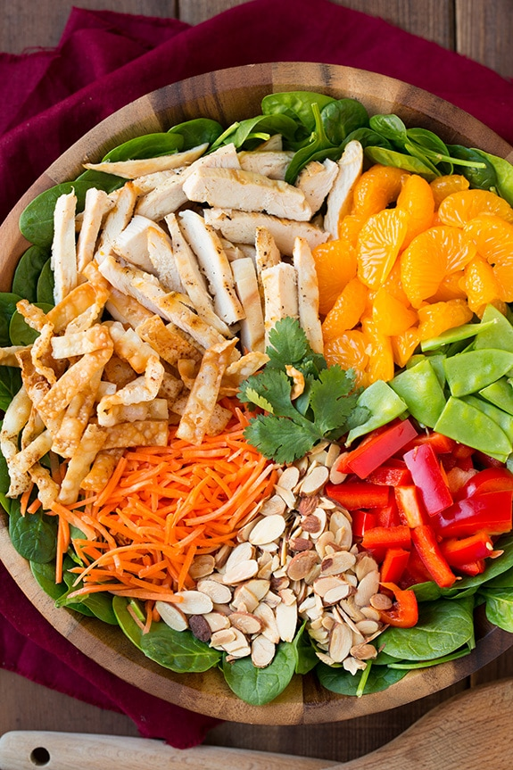 mandarin orange salad ingredients in large wooden bowl