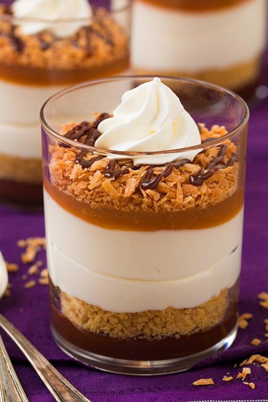 No Bake Samoa Cheesecakes   Cooking Classy