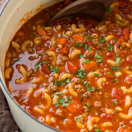 Goulash Soup - Beef and Tomato Macaroni Soup - Cooking Classy