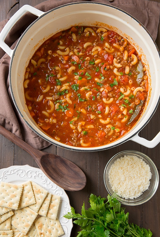 Beef and Tomato Macaroni Soup | Cooking Classy