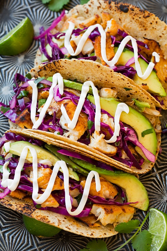 Grilled fish tacos with lime cabbage slaw cooking classy for Fish tacos with coleslaw