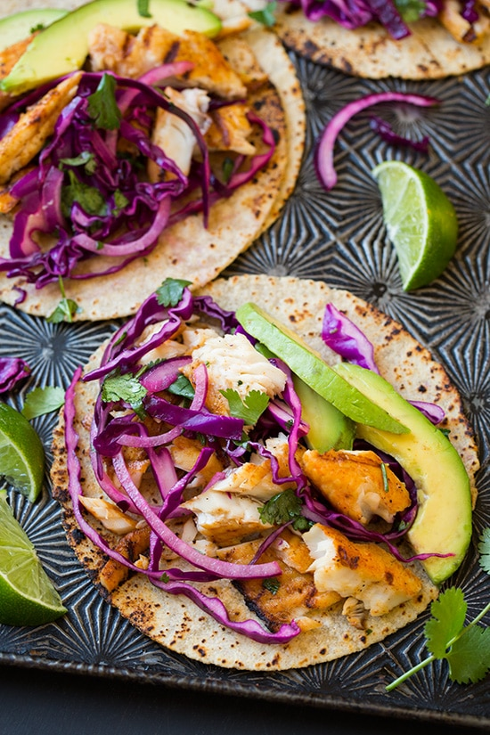 Grilled fish tacos with red cabbage slaw cooking classy for Cabbage slaw for fish tacos