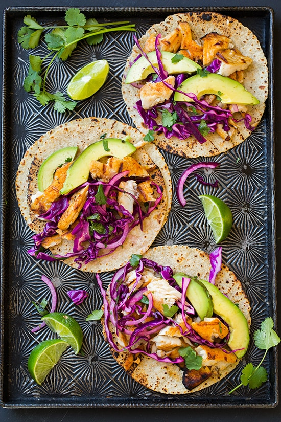 Grilled Fish Tacos with Red Cabbage Slaw on Platter