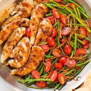 An overhead shot of balsamic chicken in a pan