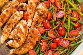 An overhead shot of balsamic chicken in a pan