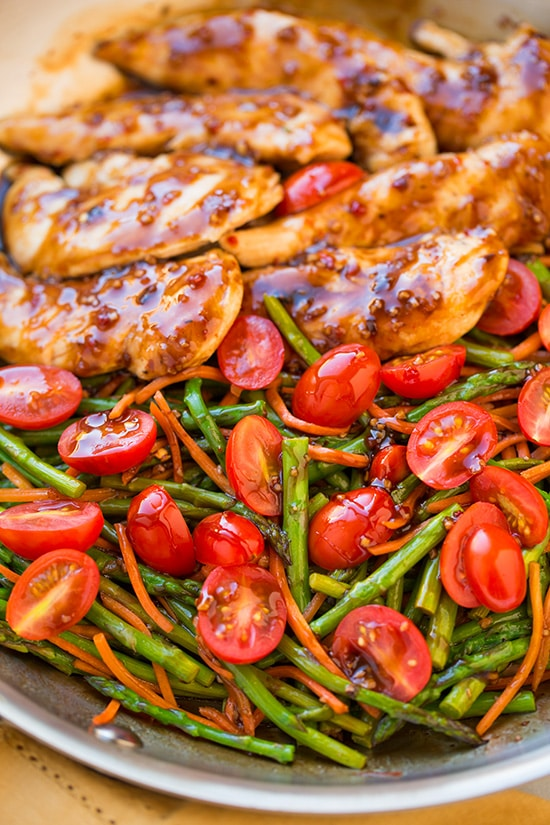 A close up of One Pan Balsamic Chicken on a plate with veggies