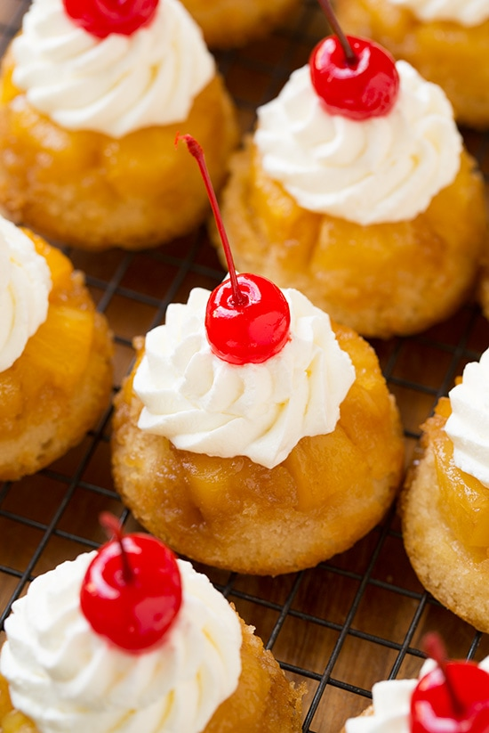 Mini Pineapple Upside Down Cakes on Cooling Rack