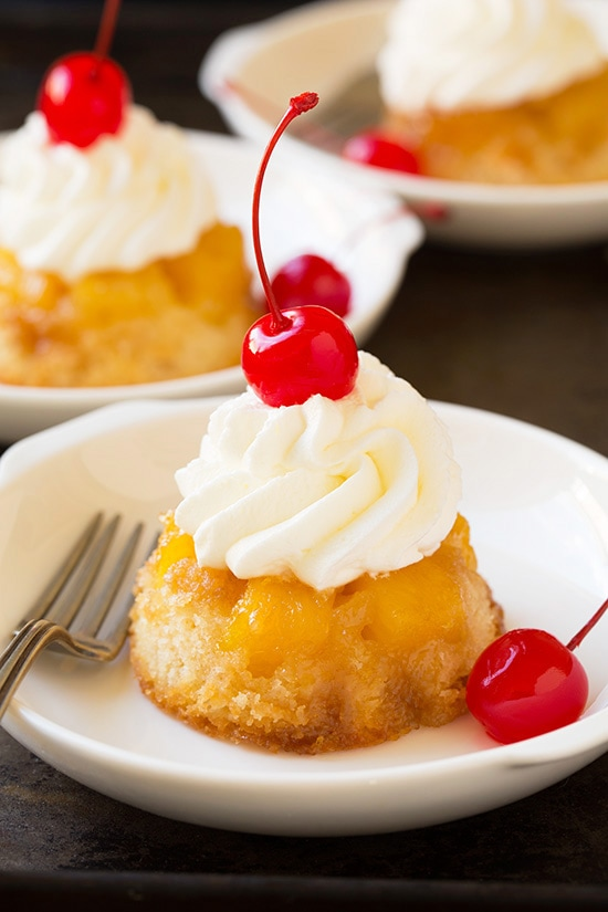 Pineapple Upside Down Cupcakes With Cherry and Whipped Cream