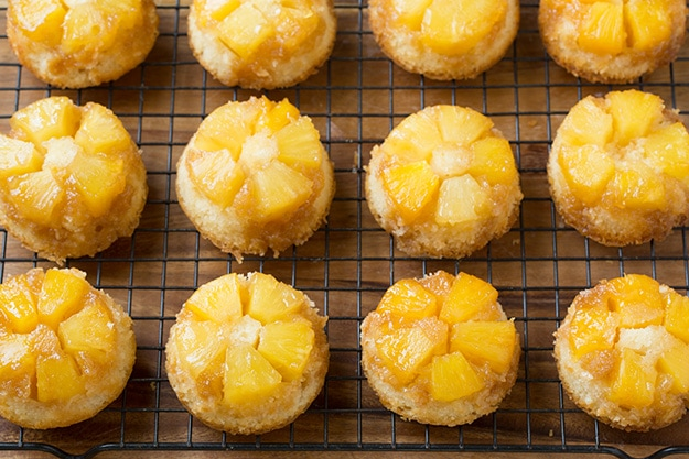 Pineapple Upside Down Cupcakes On Cooling Rack
