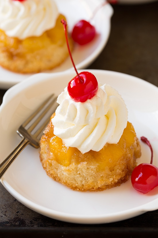 Individual Pineapple Upside Down Cakes on Plate