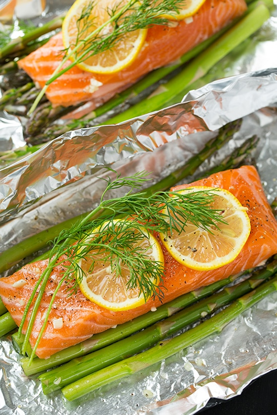 A close up of Salmon and Asparagus in Foil topped with slices of lemon and dill