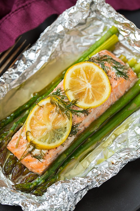 Image of baked salmon in foil.