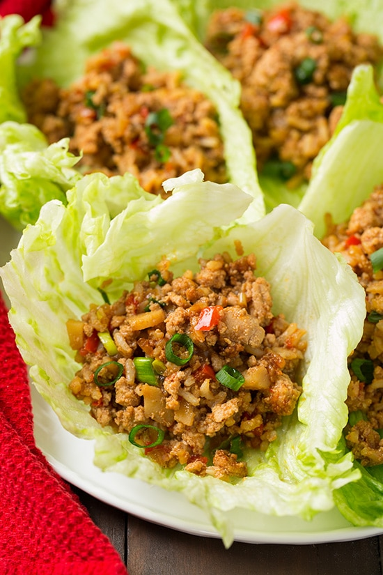 A close up of Slow Cooker Asian Chicken Lettuce Wraps