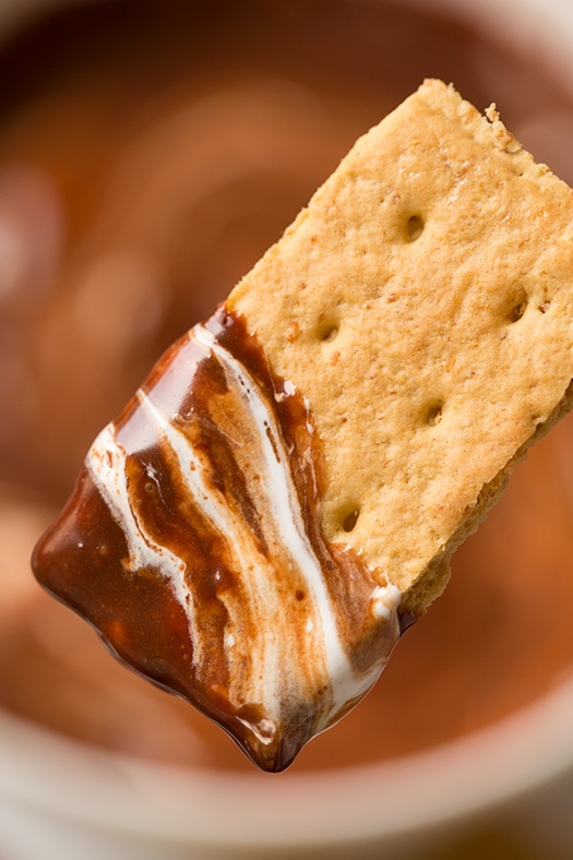 graham cracker square coated in s'mores dip