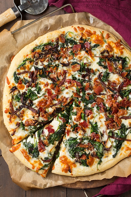 Caramelized Onion, Bacon and Spinach Pizza | Cooking Classy
