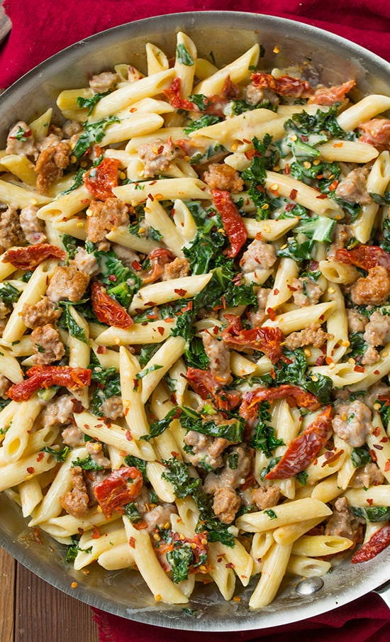 ... Kale and Turkey Sausage Pasta with Sun Dried Tomatoes | Cooking Classy