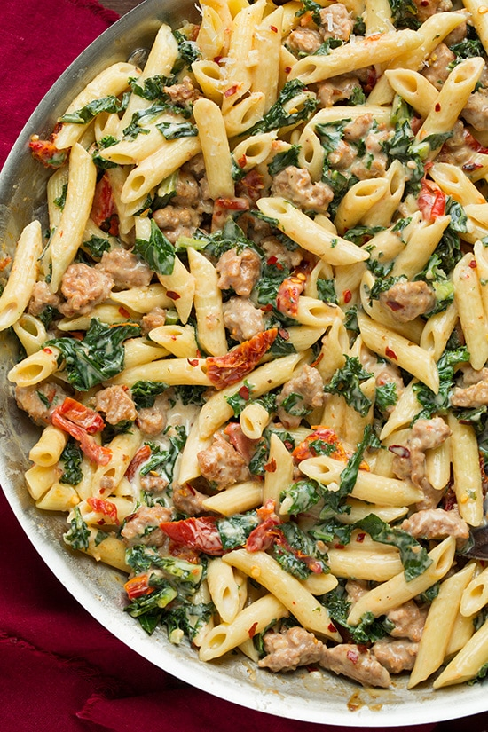 Creamy Kale and Turkey Sausage Pasta with Sun Dried Tomatoes | Cooking ...