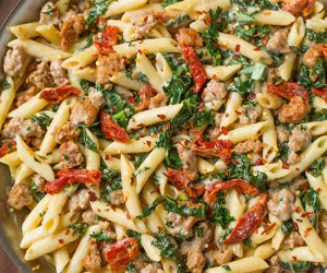 Creamy Kale and Turkey Sausage Pasta with Sun Dried Tomatoes   Cooking Classy