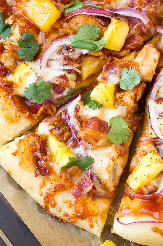 close up of sliced Hawaiian BBQ Chicken Pizza