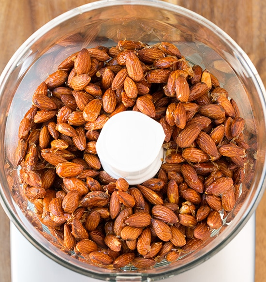 Honey Roasted Almond Butter ingredients in bowl of food processor