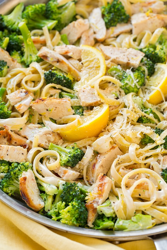 Share On Pinterest Lemon Fettuccine Alfredo With Grilled Chicken And Broccoli Cooking Classy