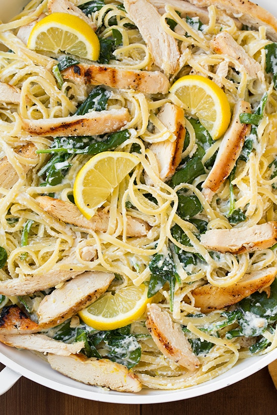 Lemon Ricotta Parmesan Pasta with Spinach and Grilled Chicken - Cooking Classy