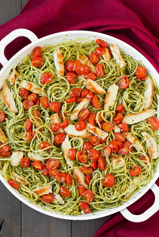 Pesto Spaghetti with Roasted Tomatoes and Grilled Chicken | Cooking Classy
